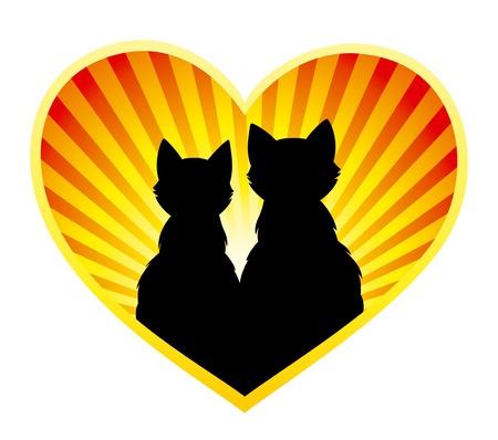 enamorados caricatura: Silueta de la pareja de gatos sobre fondo de rayos del sol, cerrado en forma de coraz�n.