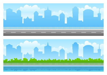 web header: Dos panoramas continuos de gran ciudad Vectores