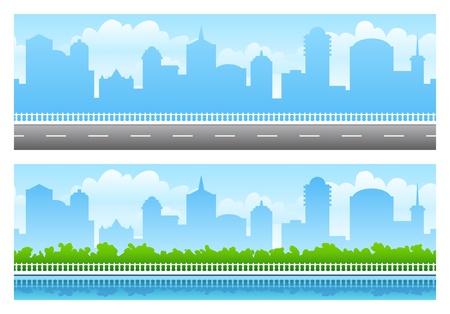 Two seamless panoramas of big city