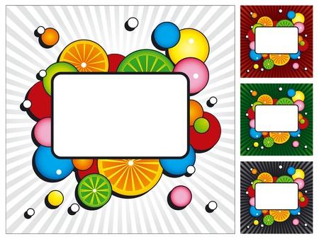 Set van vier achtergronden met kleurrijke cirkels, fruit, lichtstralen en plaats voor tekst