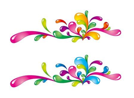 explosie: Heldere kleurrijke spatten horizontaal georiënteerd op wit Stock Illustratie