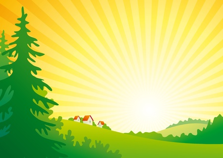 Sunrise heuvels met bos en klein dorp. Stock Illustratie