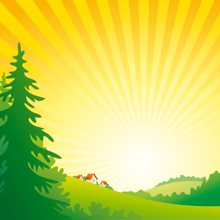 Salida del sol colinas con bosques y pequeño pueblo.