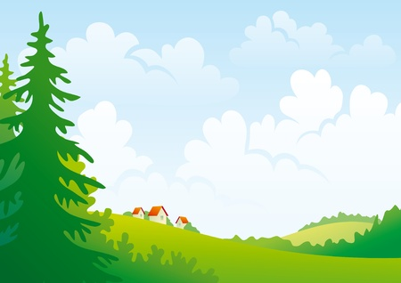 Summer hills with forest and small village. Cloudy weather.  Stock Vector - 10928200