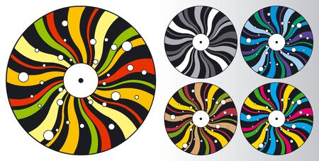differently: Set of differently coloured stylized disco plates