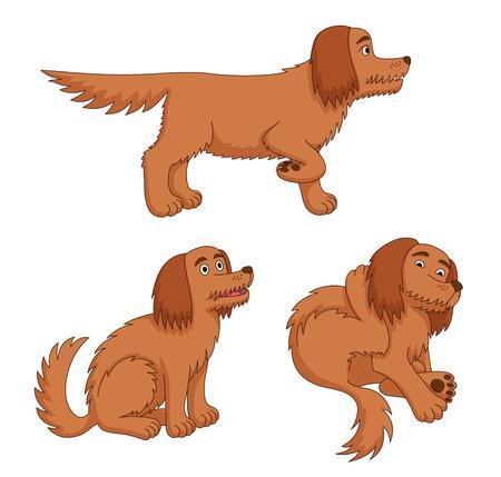 異なるポーズで漫画の犬。