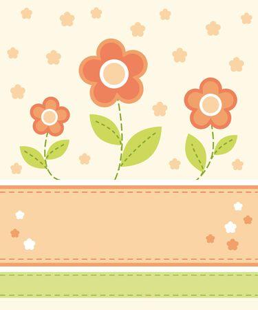 three orange: Flower card design