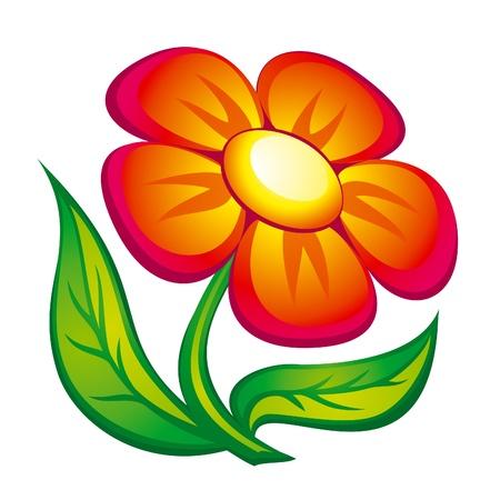 葉と赤い花のアイコン。EPS8 ベクトル。  イラスト・ベクター素材