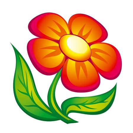 Icon of red flower with leaves. EPS8 vector. Çizim