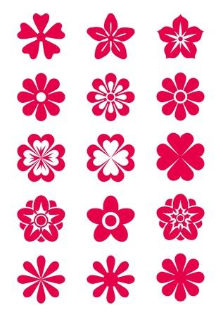 15 ベクトル花のシルエットのセット