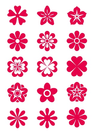 flower silhouette: Set of 15 vector flowers silhouettes