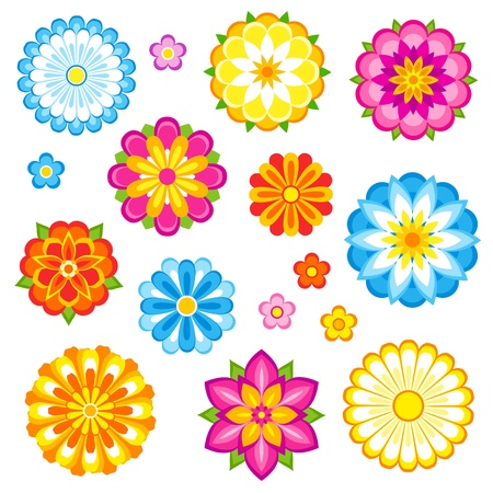 Decorative flowers set.  Vector