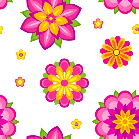 magenta: Seamless pattern of colorful decorative flowers
