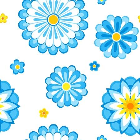 Naadloos patroon van blauwe bloemen.