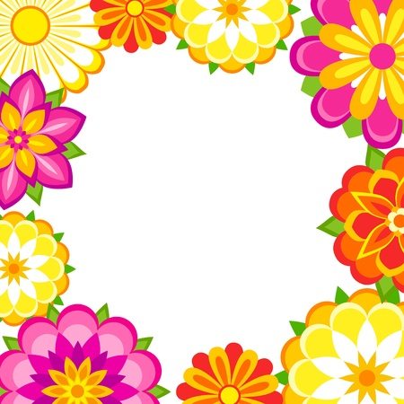 Frame of colorful flowers. Stock Vector - 10928208
