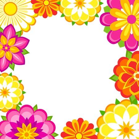 Frame van kleurrijke bloemen. Vector Illustratie