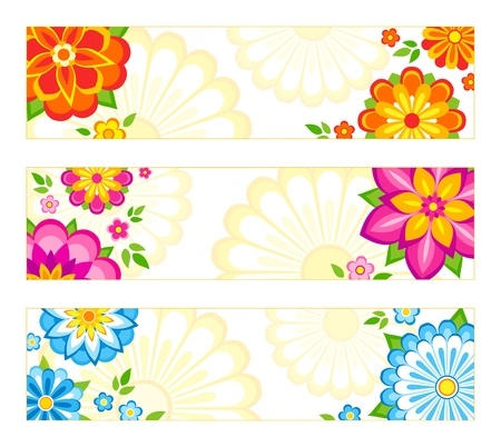 orange blossom: Set of 3 bright banner designs with flowers.