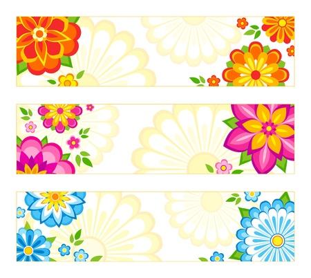Set van 3 heldere banner ontwerpen met bloemen.
