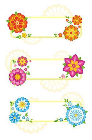 Juego de 3 cuadros de flores