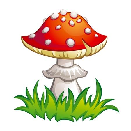 hongo: Amanita matamoscas en la hierba. ilustración.