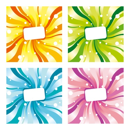 Set of four differently coloured backgrounds