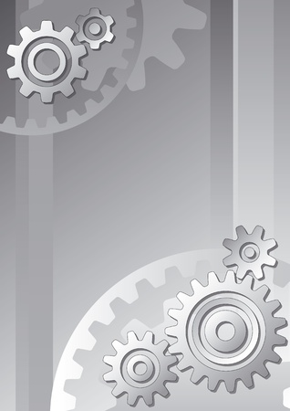 Vector technical background with gears in grayscale Vector