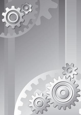Vector technische achtergrond met tandwielen in grijstinten