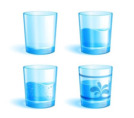 WATER GLASS: Illustrazione di occhiali: vuoto e con acqua pulita.