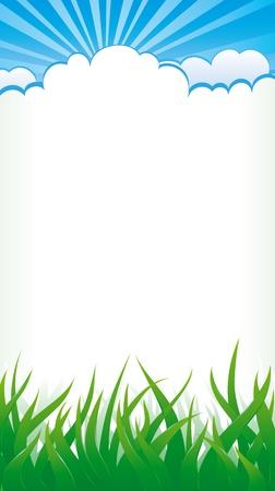 himmelsblå: Vertikal bakgrund med gräs, moln och solen strålar på himlen