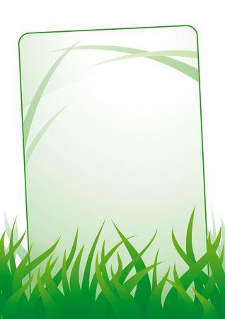 sedge: Empty card standing in green grass.