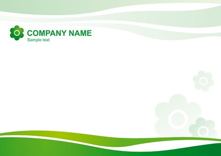 Vector natural corporate template with curved lines and symbolic flowers