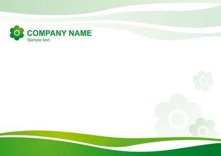 krökt: Vector naturliga corporate mall med böjda linjer och symboliska blommor