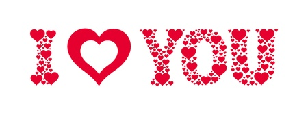 I heart you. Text made of small hearts. Vector valentine card