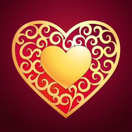 Vector golden heart with decorative elements on dark background Vector