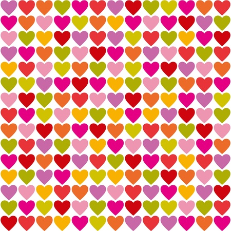 Seamless pattern of bright colorful hearts Çizim