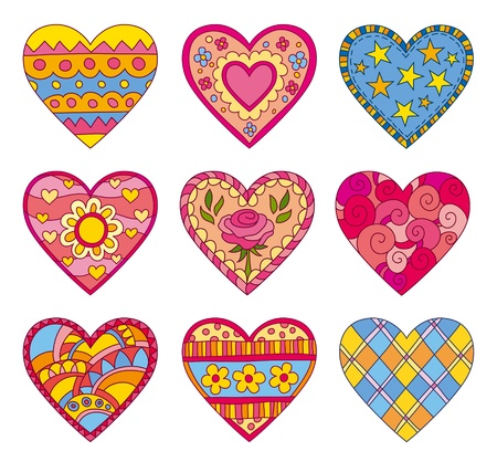 orange roses: Set of ornamentally decorated vector hearts