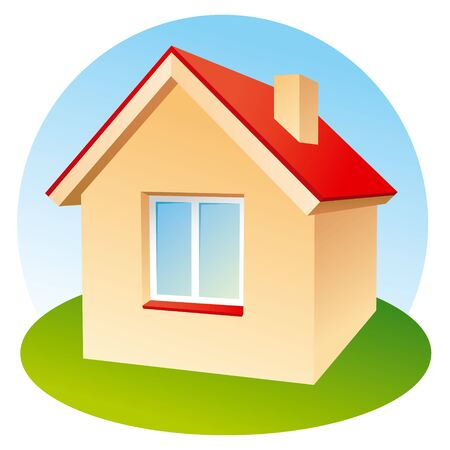Vector icon of house on lawn Stock Vector - 10928293