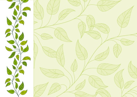 Horizontal decorative vector floral background Çizim