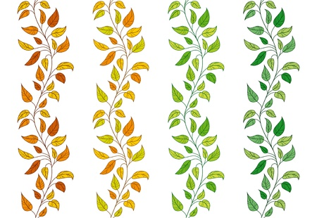 ivy: Collection of 4 vector seamless leavy borders