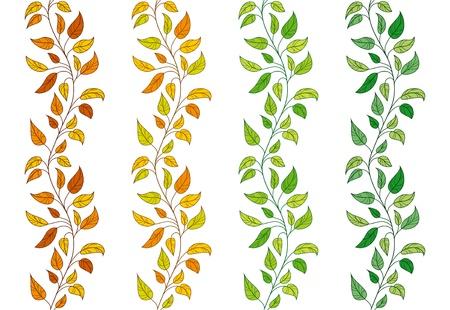 bladeren: Verzameling van 4 vector naadloze Leavy grenzen Stock Illustratie