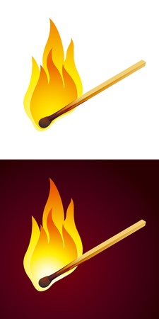 Burning matches on white and dark backgrounds. Fully editable vector.
