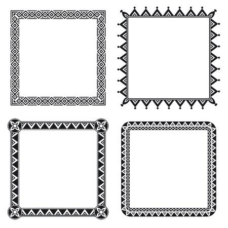 白と黒の 4 つの幾何学的な装飾用フレームのセット  イラスト・ベクター素材