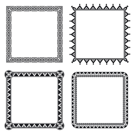 Set of four geometric ornamental frames in black and white