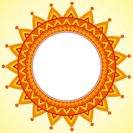 Vector geometrical ornamental frame in shape of sun Stock Vector - 10928124