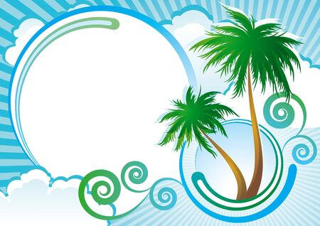 summer border: Tropical background with palm-trees, clouds and abstract elements.