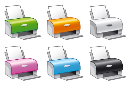 printers: Set of vector icons of printers in multiple colors