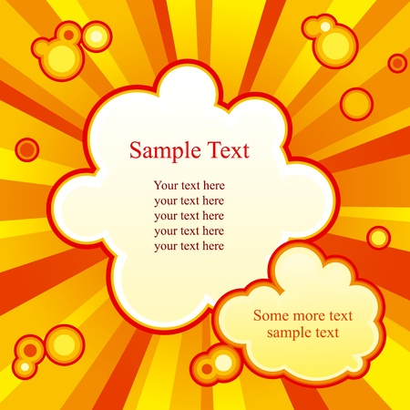 Bright background with rays and two cloud-shaped places for text.