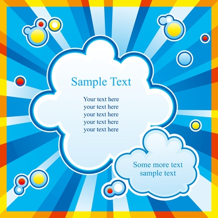Bright background with rays and two cloud-shaped places for text. Stock Vector - 10928168