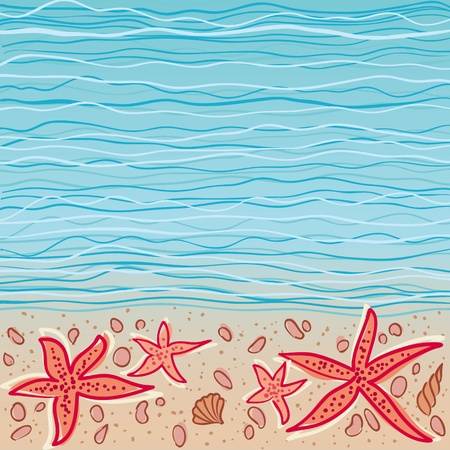 at the bottom of: Sea waves background with some shells and star-fishes at the bottom. EPS8 illustration