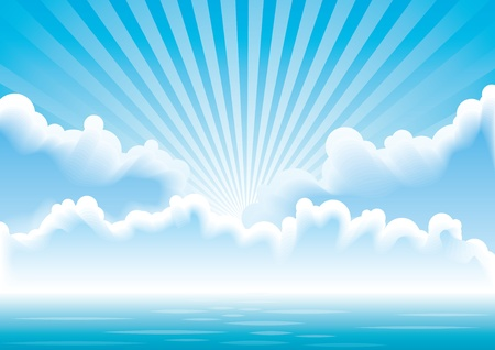 Calm sea with clouds and sun rays above it.  Stock Vector - 10928166